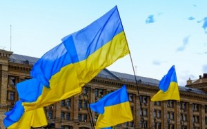 Ukraine flags in Kiev city